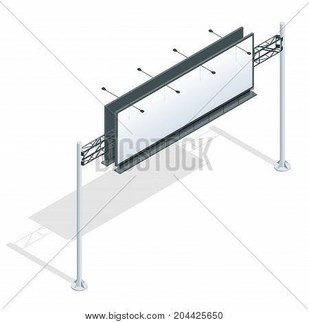 Billboard isometric. Different perspectives advertising construction for outdoor advertising big billboard on background isolated vector illustration.