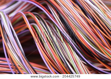 Colorful electrical cable and wire as background