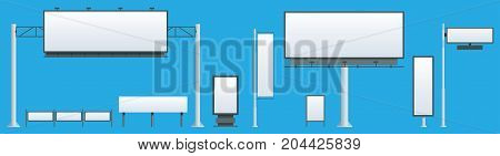 Billboard flat Set of different perspectives advertising construction for outdoor advertising big billboard on blue background isolated vector illustration.
