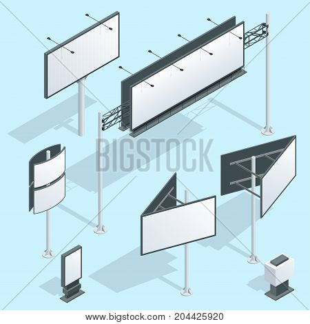 Billboard isometric. Set of different perspectives advertising construction for outdoor advertising big billboard on blue background isolated vector illustration.