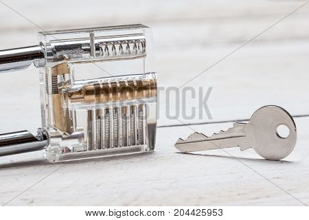 You see it inside work through a clear padlock with key