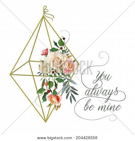 Vector floral design card: garden pink peach creamy Rose Eucalyptus tree leaf green holly leaves berry in golden flower cage. Wedding vector invite illustration Watercolor romantic editable template