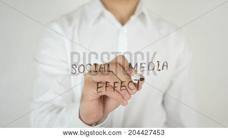 Social Media Effect, Written On Glass By Man In Studio