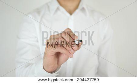 Market, Written On Glass By Man In Studio