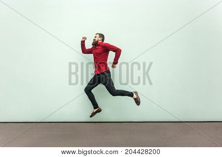 Profile Happiness Jumping Man In Red Shirt With Beard And Mustache, Casual Style.