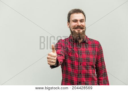 Success Bearded Businessman Thumbs Up