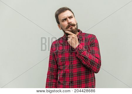 Choosing. Creativity Businessman With Beard And Mustache Looking Up And Thinking