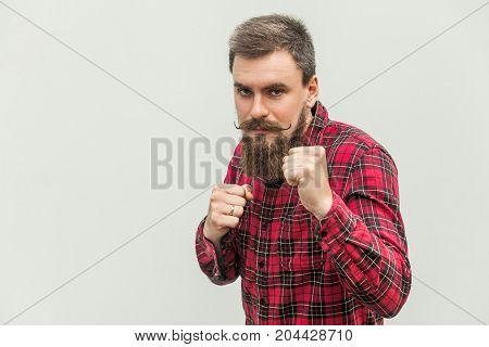 Boxing. Young Adult Businessman, Ready For Fight