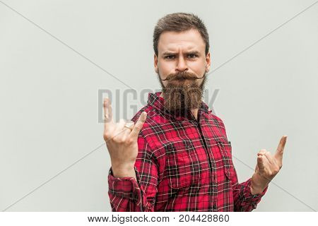 Rock N Roll. Funny Businessman With Beard And Mustache