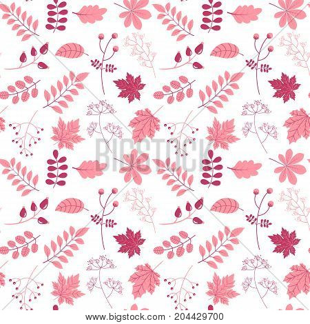 Elegant vector seamless pattern in flat style with leaves and twigs in pink colors on white background for invitations scrapbook and textile designs