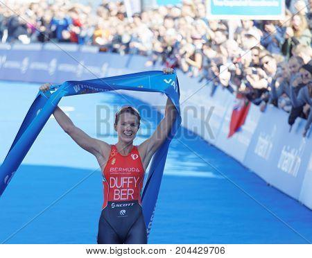 STOCKHOLM - AUG 26 2017: Smiling triathlete Flora Duffy winning in the Women's ITU World Triathlon series event August 26 2017 in Stockholm Sweden