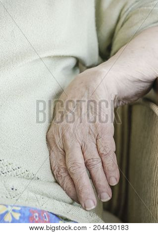 Closeup Wrinkled Hand Of A Senior Person