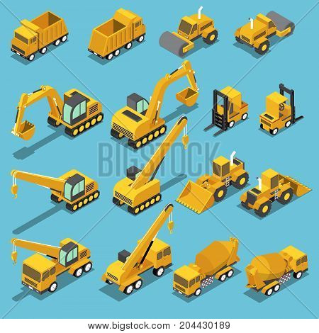 Flat 3d isometric construction transport icon set include excavator crane grader cement mixer truck road roller forklift bulldozer