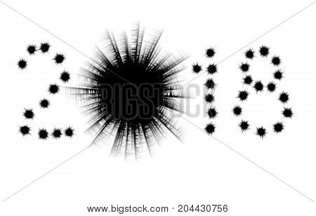 Bullet holes in shape of 2018 isolated on white