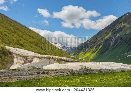 landscape in the mountains of Upper Svaneti, Greater Caucasus Mountain Range in Georgia