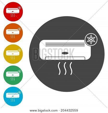 Air conditioner sticker set, simple vector icon