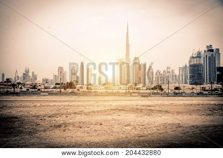 DUBAI UNITED ARAB EMIRATES - FEBRUARY 16 2017: Burj Khalifa tower. This skyscraper is the tallest man-made structure in the world measuring 828 m. Completed in 2009.