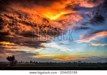 Overcast Sunset at Jakarta International Airport, Indonesia