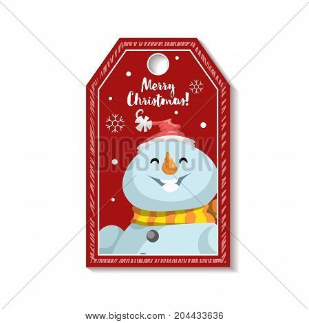 Cartoon red Christmas tag or label with laughing snowmen in Santa's hat. Xmas gift tag invitation banner sale or discount poster.