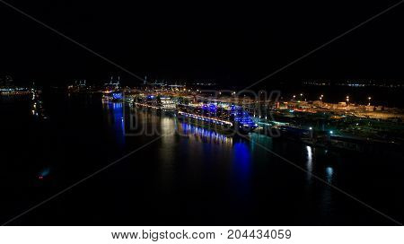 USA. FLORIDA. MIAMI. SEPTEMBER, 2017: Cruise ships in the port of Miami. Aerial night view.
