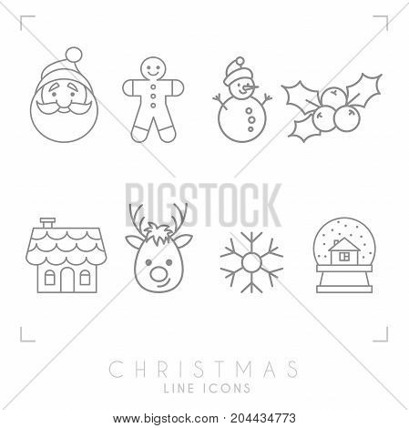 Thin line christmas icons set. Gingerbread house glass snowball Santa Claus avatar gingerbread man deer snowflake snowman holly berry.