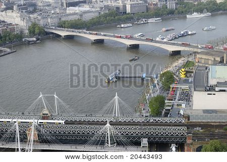 Hungerford & Waterloo Bridges. UK