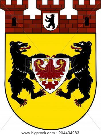 Coat of arms of Mitte is a central locality of Berlin in the homonymous district of Mitte of Germany. Vector illustration from the