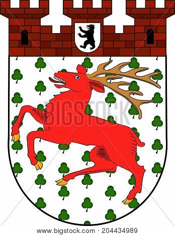 Coat of arms of Tiergarten is borough of Mitte in central Berlin Germany. Vector illustration from the