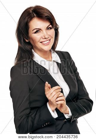 Happy confident entrepreneur making presentation and gesturing with hands