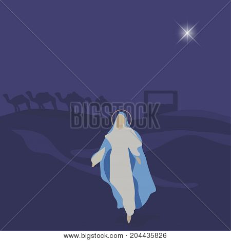 Mary mother of Jesus. Blessed Virgin Mary. Great as Christmas or Nativity of Jesus scene illustration for Christian church sermon oration or bible talks. Good for Feast of the Immaculate Conception