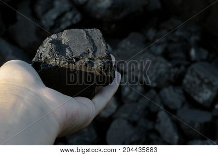 Coal mining - hand holding sunlit dark coal stone part. Concept coal mining coal processing energy source environment protection.