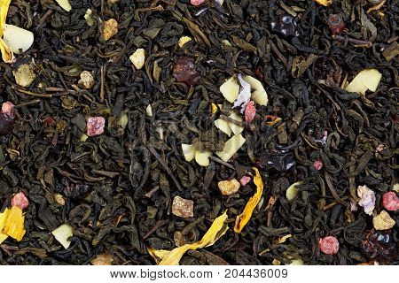 Mix tea from pineapple and almond flakes, mallow petals and sunflower, rosehip peel.