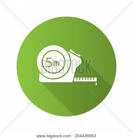 Measuring tape flat design long shadow glyph icon. Vector silhouette illustration