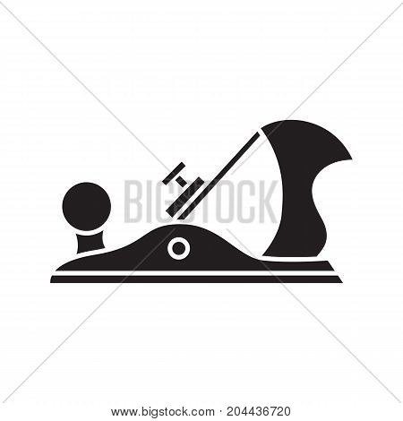 Jack plane glyph icon. Carpenter tool. Carpentry silhouette symbol. Negative space. Jack-plane vector isolated illustration