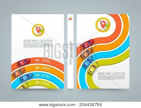 Paved path on the road. banner road book. A4 size paper, Vector background