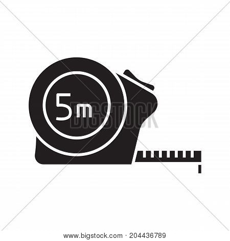 Measuring tape glyph icon. Roulette meter silhouette symbol. Construction tool. Renovation and repair instrument. Negative space. Vector isolated illustration