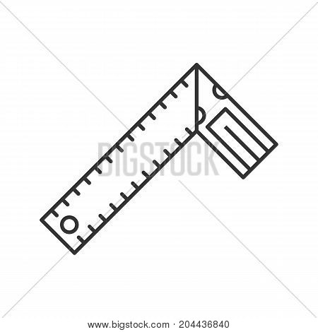 Set square linear icon. Construction tool thin line illustration. Bevel square. Contour symbol. Renovation and repair instrument. Angle measurement. Vector isolated outline drawing