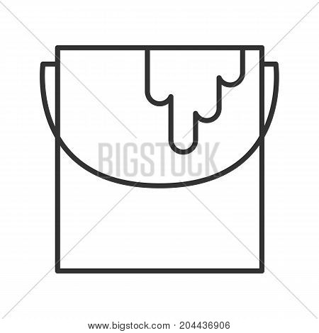 Paint bucket linear icon. Thin line illustration. Interior design. Painting, dyeing contour symbol. Renovation and repair instrument. Vector isolated outline drawing