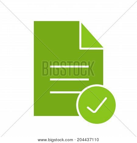 Approved document glyph color icon. Document with tick mark. Silhouette symbol on white background. Negative space. Vector illustration
