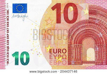 Part of 10 euro bill on macro. Hi res photo.