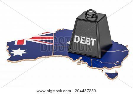 Australian national debt or budget deficit financial crisis concept 3D rendering