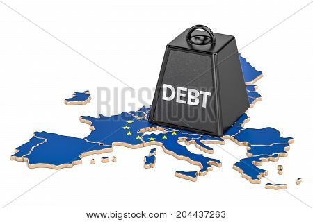 European debt or budget deficit financial crisis concept 3D rendering