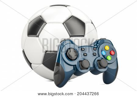 Football Video Game concept. Soccer ball with gamepad 3D rendering