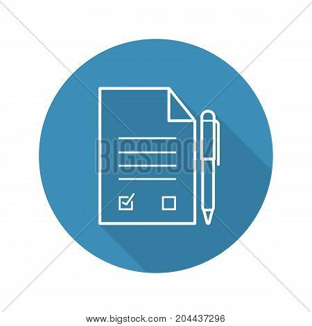 Signed contract with pen. Flat linear long shadow icon. Agreement. Vector outline symbol