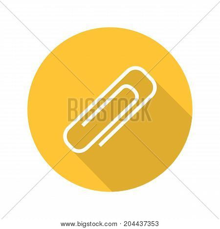 Paper clip flat design long shadow glyph icon. Attachment digital symbol. Vector silhouette illustration