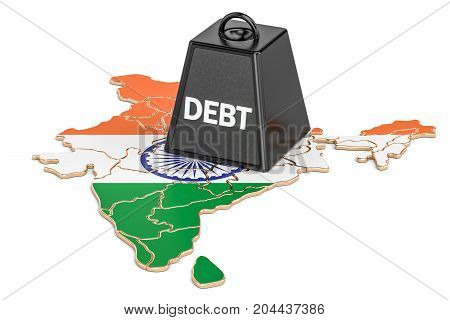 Indian national debt or budget deficit financial crisis concept 3D rendering