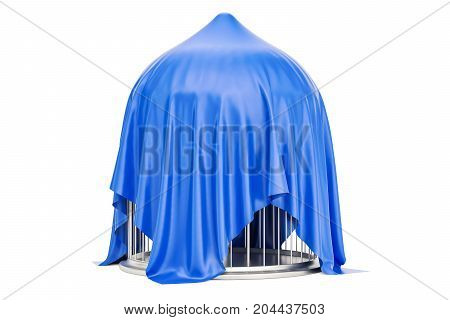 Silver bird cage covered red cloth 3D rendering