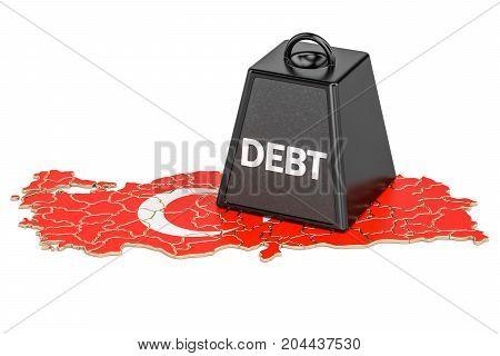 Turkish national debt or budget deficit financial crisis concept 3D rendering