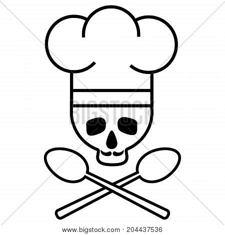 Skull chef with a mustache in chef s hat with crossed spoons. Logo icon. Black-and-white drawing. Vector illustration
