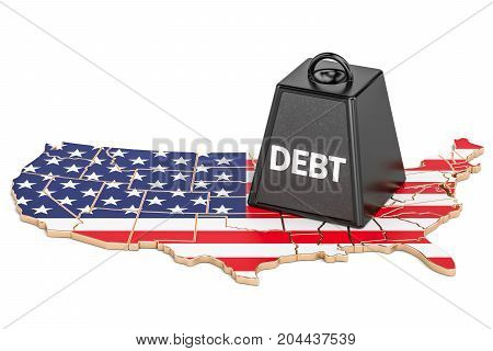 United States national debt or budget deficit financial crisis concept 3D rendering